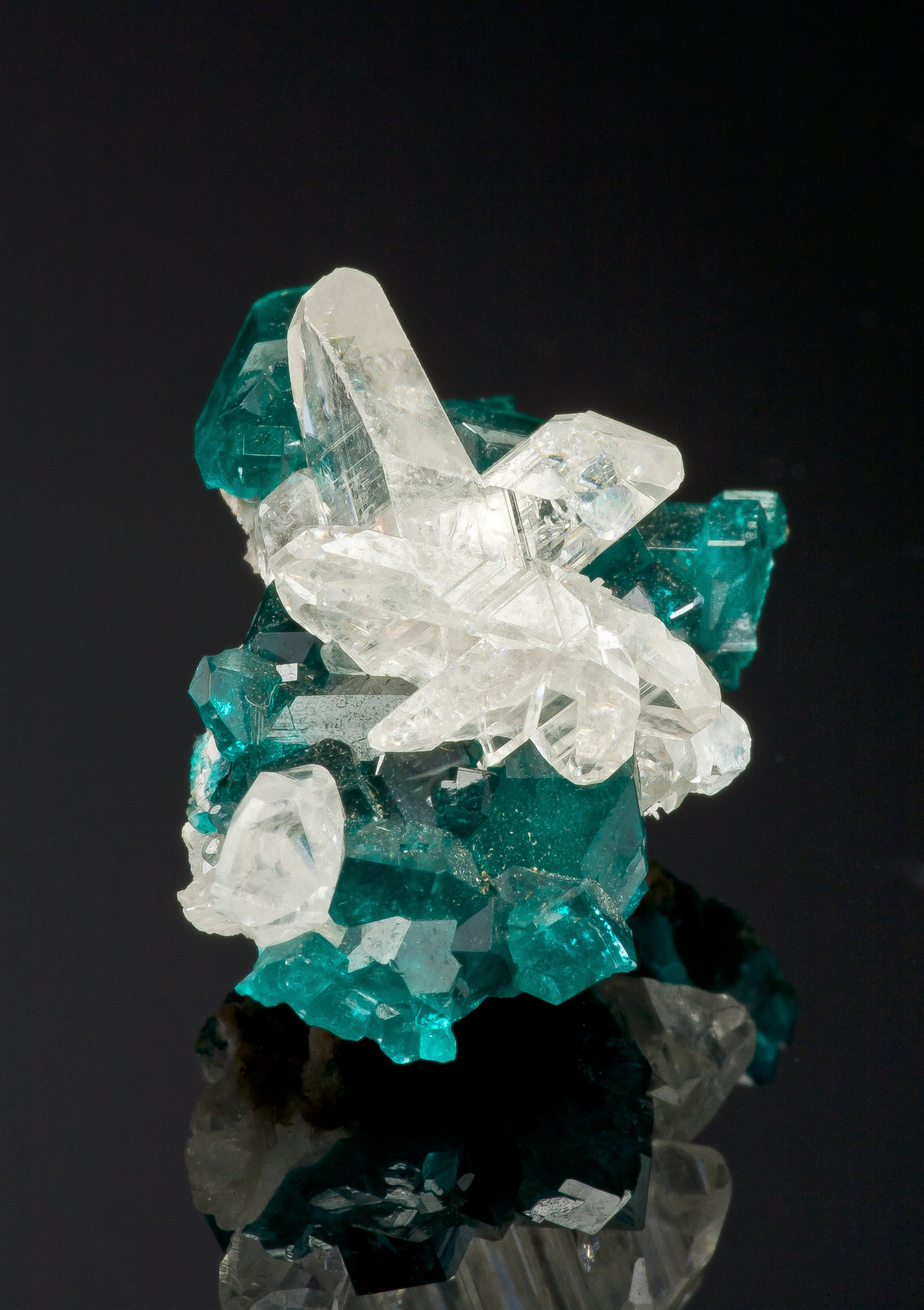 Cerussite on Dioptase